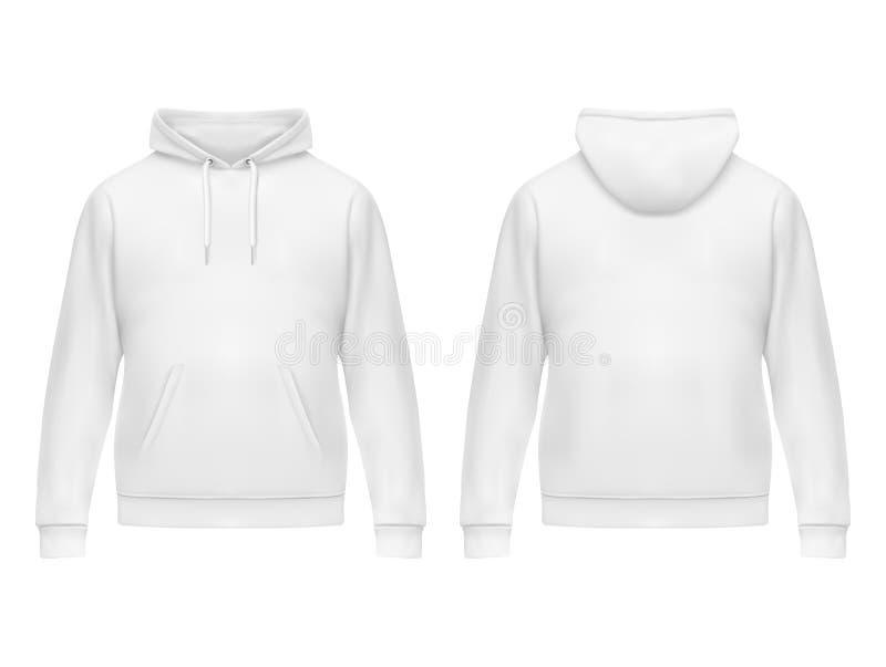 Realistische witte hoodie of hoody voor de mens, sweatshirt royalty-vrije illustratie