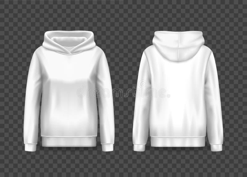 Realistische witte hoody vrouwen, vrouwentrui hoodie royalty-vrije illustratie