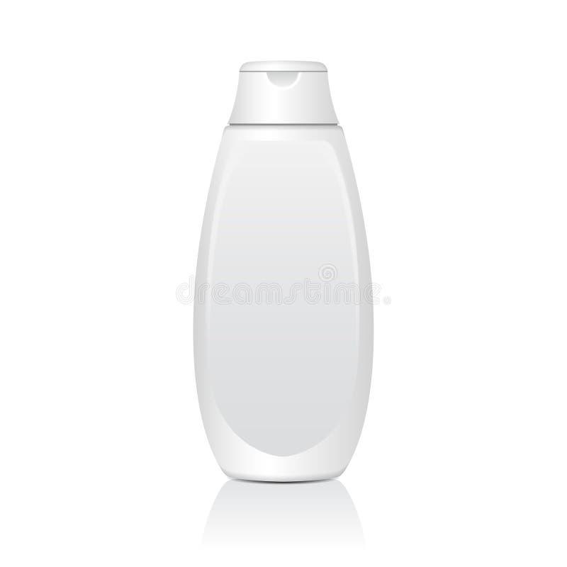 Realistische witte kosmetische flessen Buis of Container voor Room, Zalf, Lotion Kosmetisch Flesje voor Shampoo Vectorspot stock illustratie