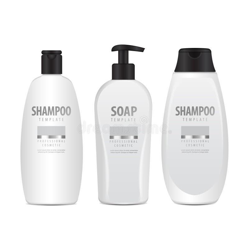 Realistische Witte Kosmetische geplaatste Flessen Buis of Container voor Room, Zalf, Lotion Kosmetisch Flesje voor Shampoo Vector royalty-vrije illustratie