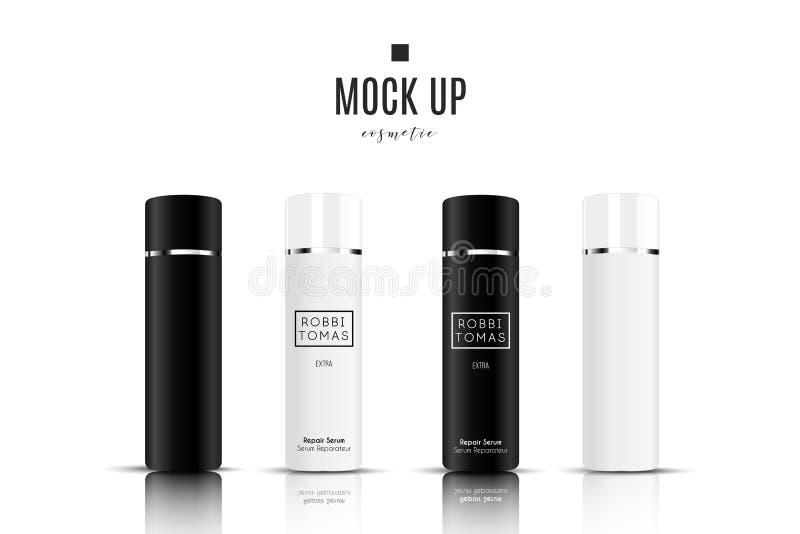 Realistische witte kosmetische roomcontainer en buis voor room, zalf, tandpasta, lotionspot op fles Gel, poeder royalty-vrije illustratie