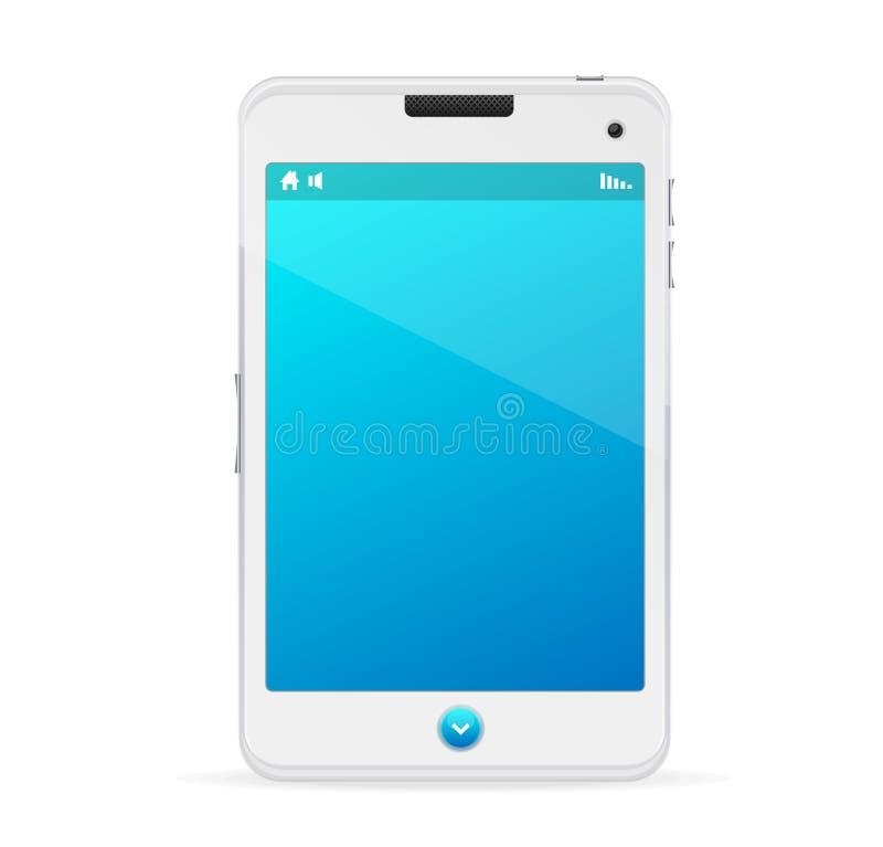 Realistische witte mobiele telefoon met het blauwe scherm royalty-vrije illustratie
