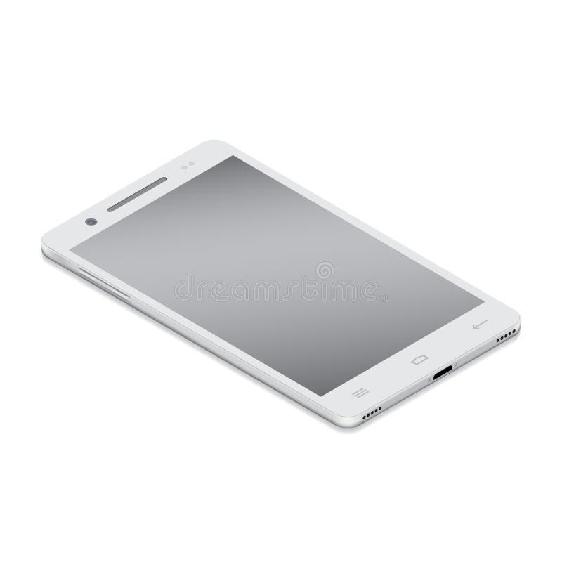 Realistische witte smartphone cellulair in isometry op een witte achtergrond vector illustratie