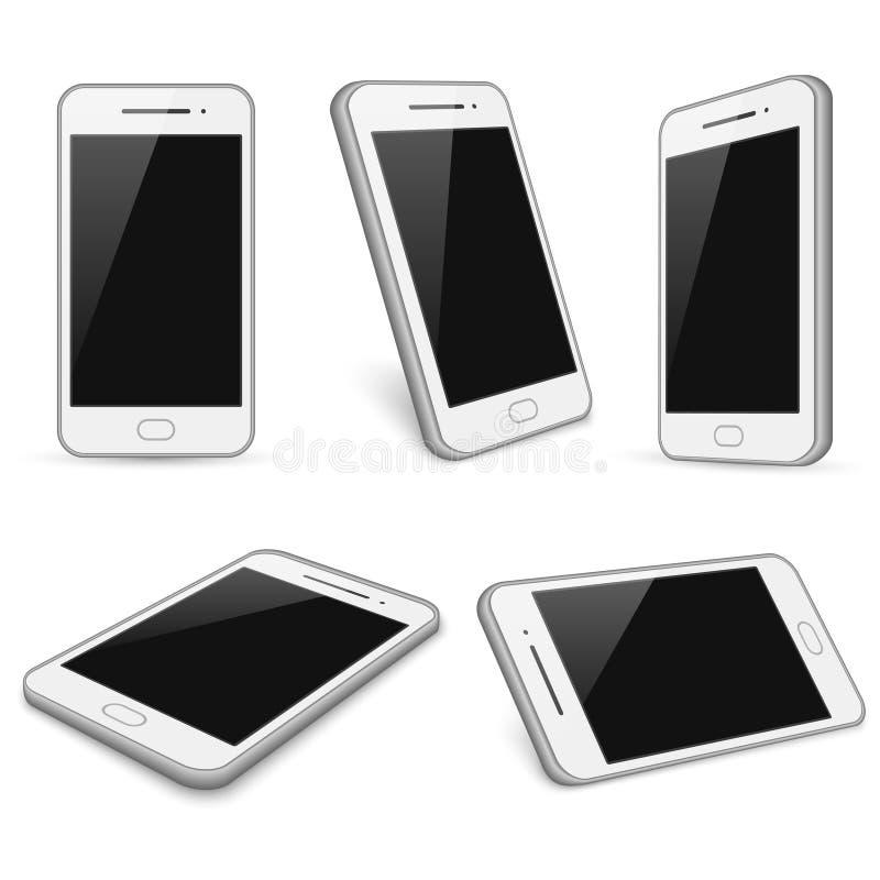 Realistische witte smartphone, de vector geïsoleerde modellen van de celtelefoon stock illustratie
