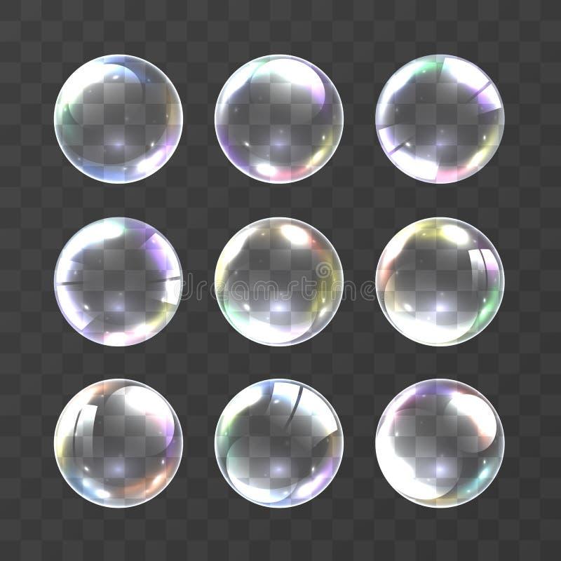 Realistische zeepbel met kleuren vector illustratie