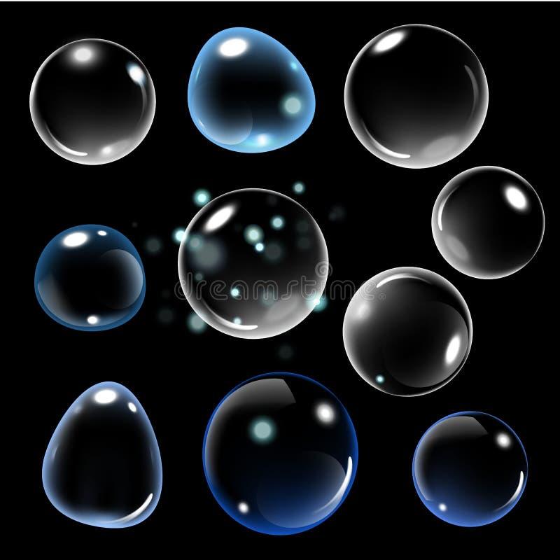 Realistische zeepbel op zwarte achtergrond vectorzeepbelillustratie Zeepbelreeks Vector illustratie stock illustratie