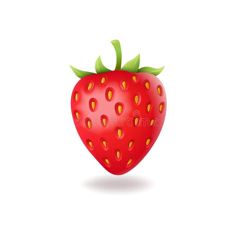 Realistische zoete aardbei met groene bladeren, verse rode die berrie, op witte vectorillustratie wordt geïsoleerd als achtergron stock illustratie