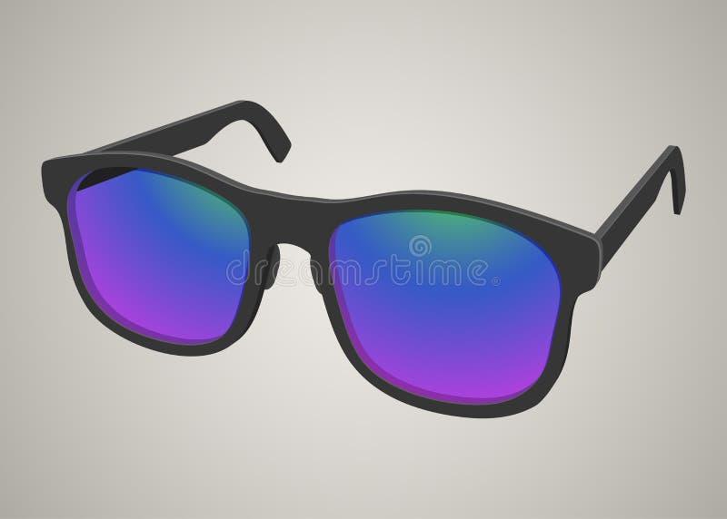realistische zonnebril met gekleurd glas royalty-vrije stock afbeelding
