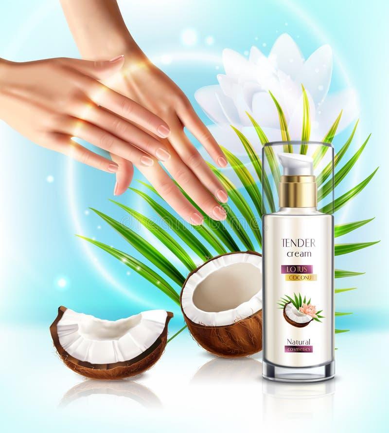 Realistische Zusammensetzung Kokosnuss Skincare lizenzfreie abbildung