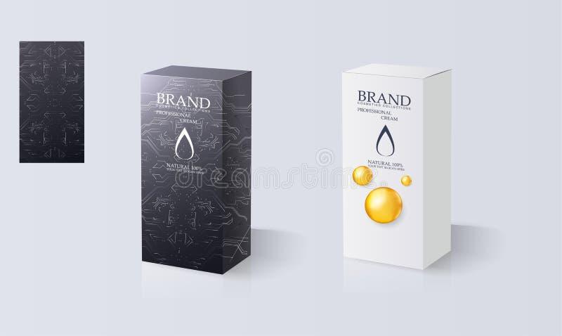 Realistische zwart-witte doos op witte achtergrond royalty-vrije illustratie