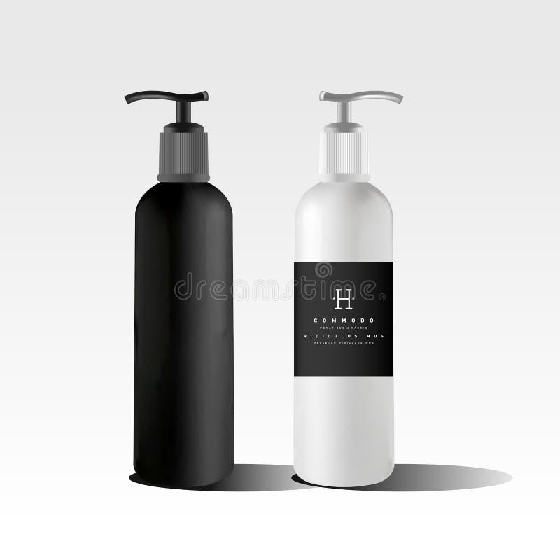 Realistische zwarte fles royalty-vrije illustratie