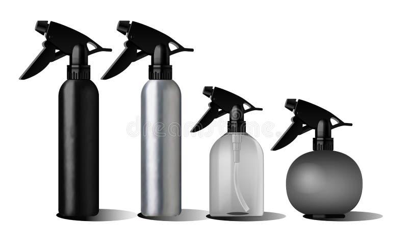 Realistische zwarte fles voor etherische olie vector illustratie