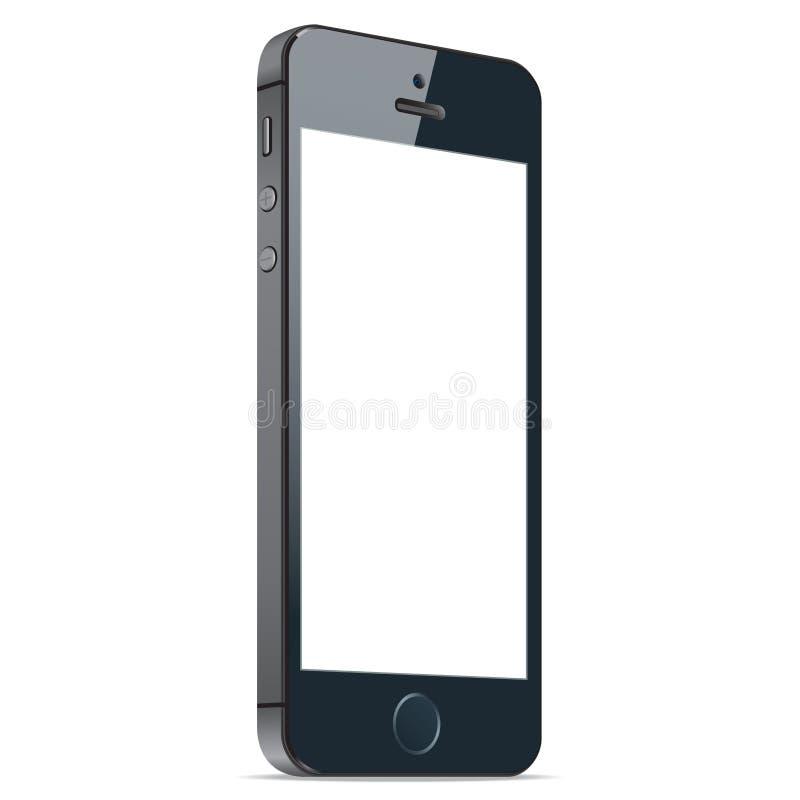 Realistische zwarte mobiele telefoon met het lege scherm op witte achtergrond Vector eps10 vector illustratie