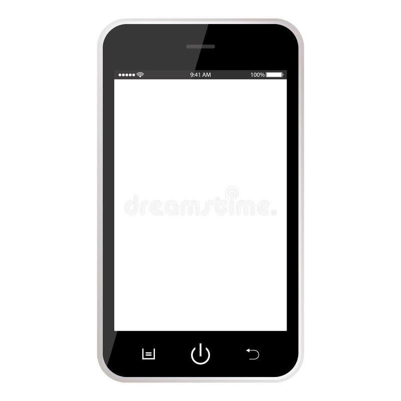 Realistische zwarte mobiele telefoonsmartphone met prikklokbatterij, knopen en het witte lege scherm Realistisch Zwart Smartphone royalty-vrije illustratie