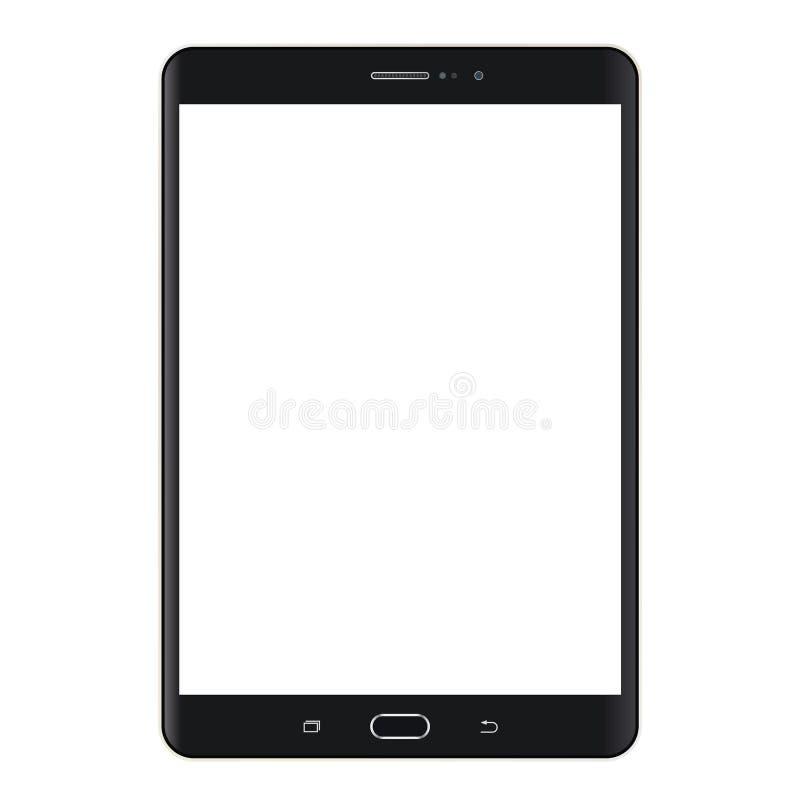 Realistische zwarte Tablet met het witte scherm vectoreps10 Het pictogram van de tabletcomputer Het zwarte Lusje van de tabletcom stock illustratie