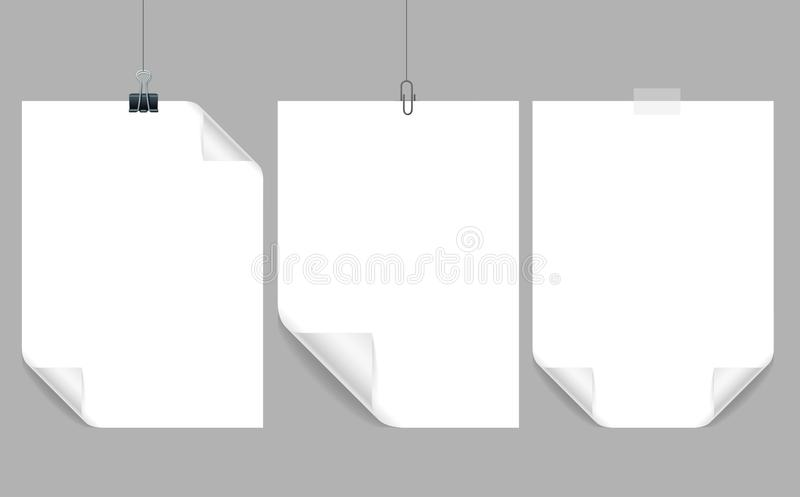 Realistischer ausführlicher Papier-Rahmen des Blatt-3d mit gebogenem Ecken-Satz Vektor lizenzfreie abbildung