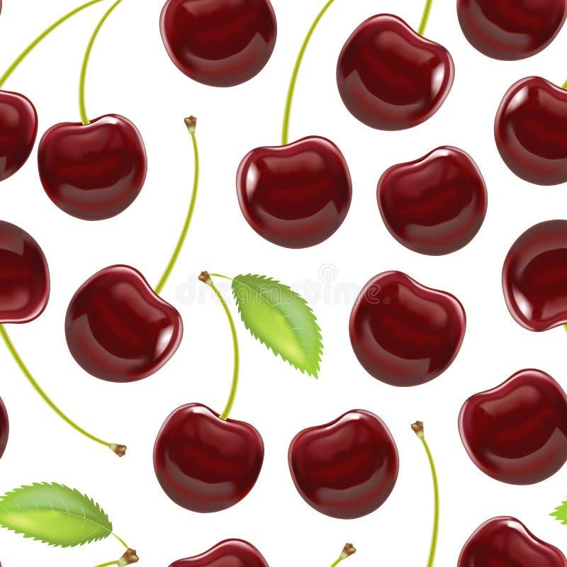 Realistischer ausführlicher reifer roter Berry Cherry Background Pattern Vektor stock abbildung