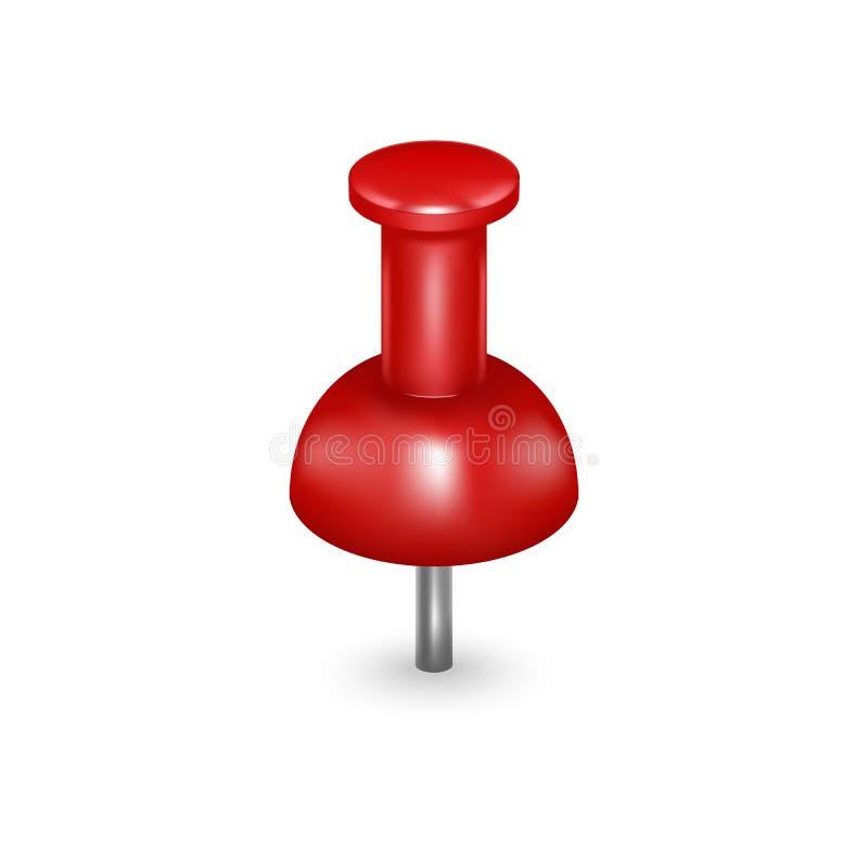 Realistischer ausführlicher roter Stoß 3d Pin Vektor lizenzfreie abbildung