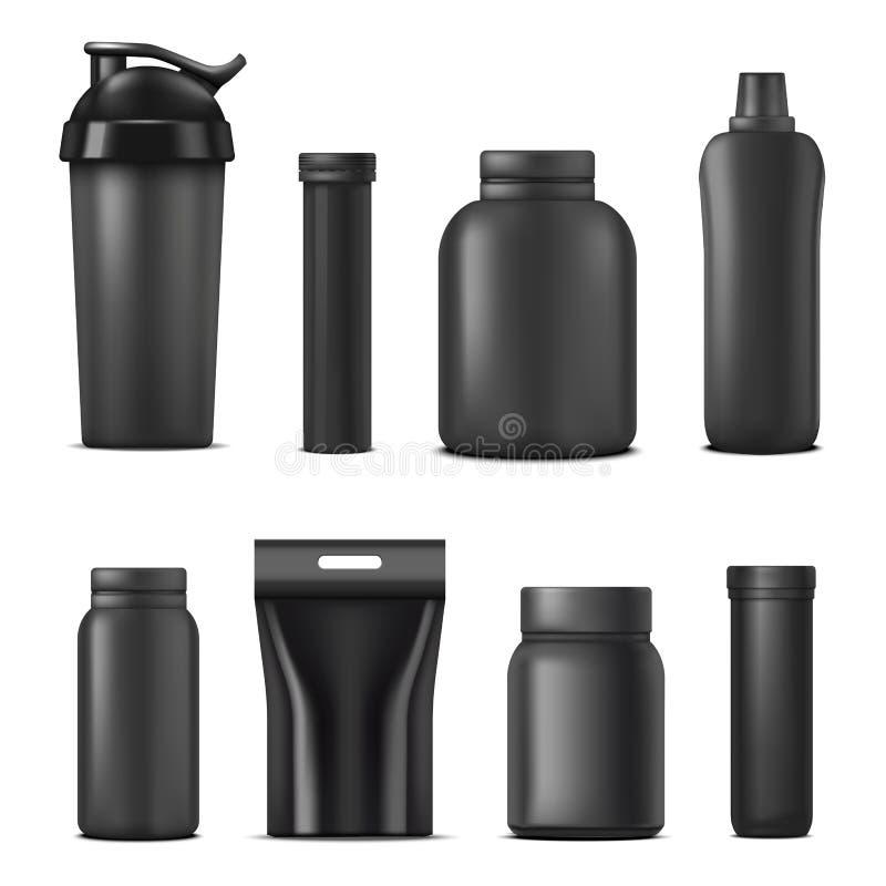 Realistischer ausführlicher schwarzer leerer Nahrungs-Behälter-Schablonen-Modell-Satz des Sport-3d Vektor stock abbildung