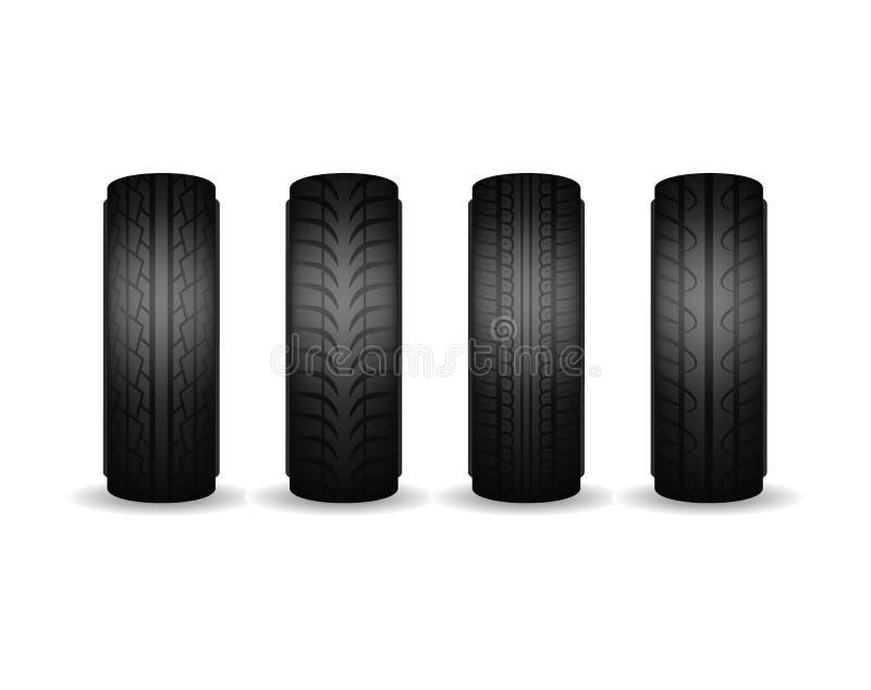 Realistischer ausführlicher unterschiedlicher schwarzer Gummiradsatz der reifen-3d und Auto- Vektor lizenzfreie abbildung