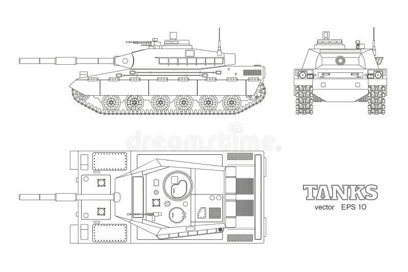 Realistischer Behälterplan Panzerkampfwagen des Entwurfs auf weißem Hintergrund Spitze, Seite, Vorderansichten Kriegstarnungstran lizenzfreie abbildung