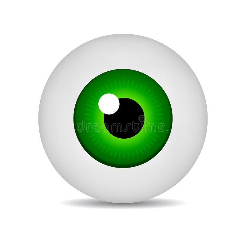 Realistischer Bild-Grünaugapfel der Vektorillustrationsikone 3d runder Grünes Auge lokalisiert auf weißem Hintergrund Auch im cor stock abbildung