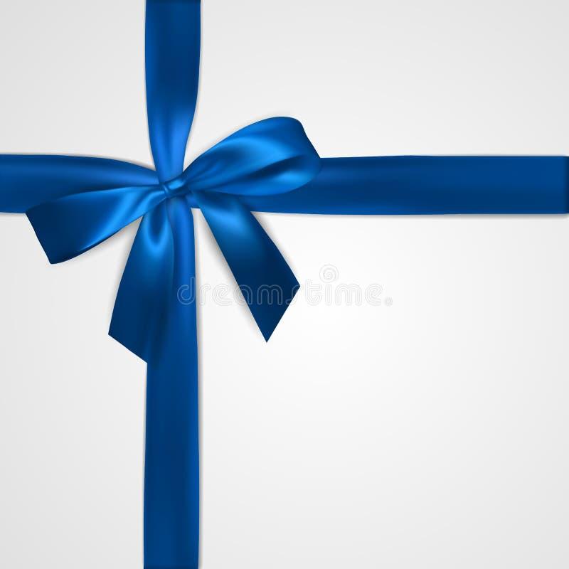 Realistischer blauer Bogen mit den Bändern lokalisiert auf Weiß Element für Dekorationsgeschenke, Grüße, Feiertage Auch im corel  lizenzfreie abbildung