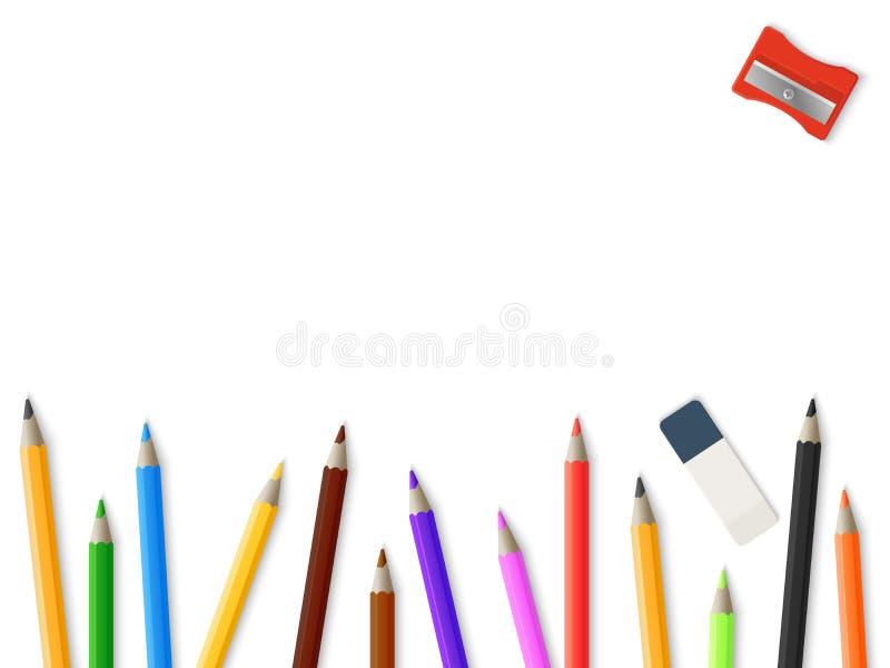 Realistischer BleistiftBleistiftspitzer-Radiergummihintergrund - Zeichnungsmodell-Schablonendesign stock abbildung