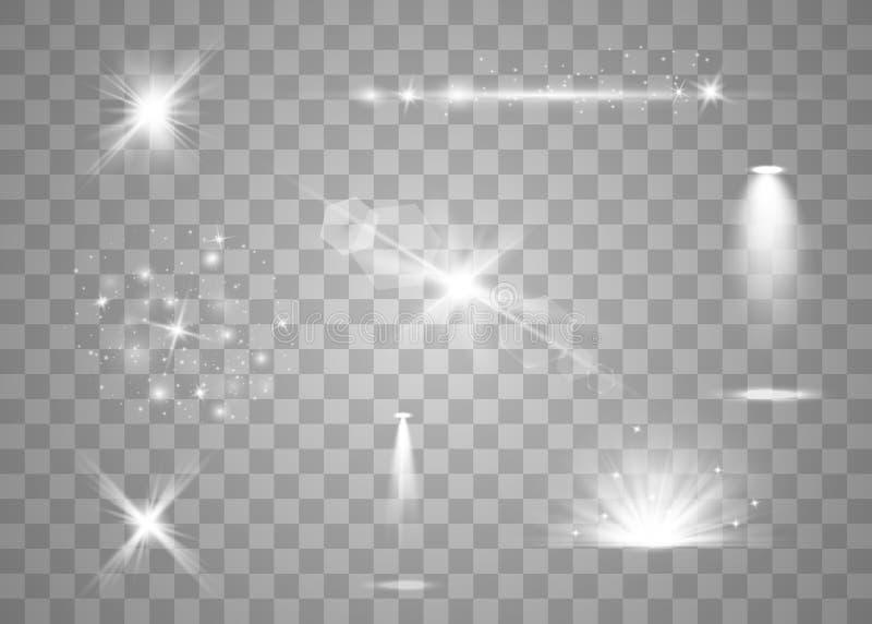 Realistischer Blendenflecksatz stock abbildung