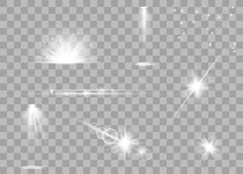Realistischer Blendenflecksatz lizenzfreie abbildung