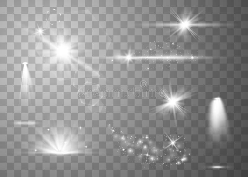Realistischer Blendenflecksatz vektor abbildung