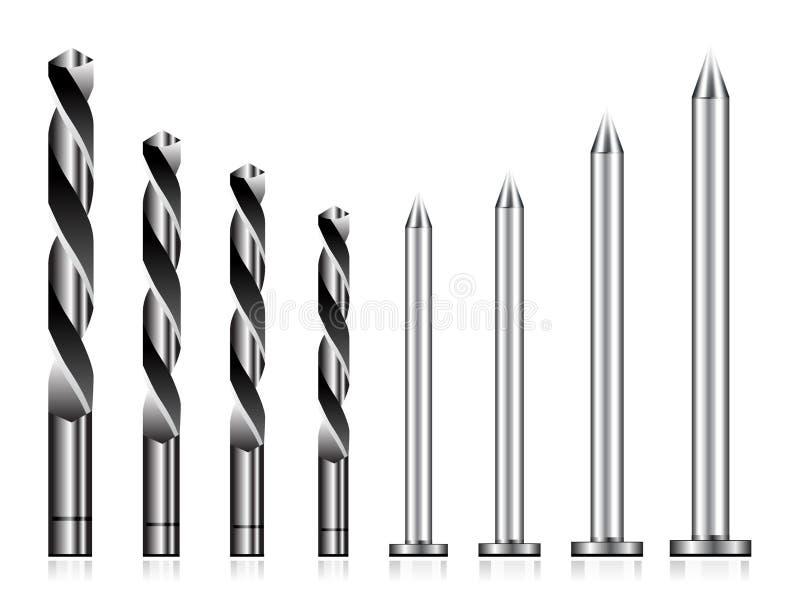 Realistischer Bohrer und Stahlnagel stock abbildung