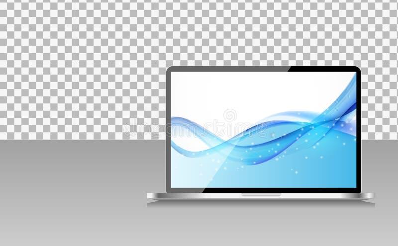 Realistischer Computer-Laptop mit abstrakter Tapete auf Schirm auf Transperent-Hintergrund Auch im corel abgehobenen Betrag stock abbildung