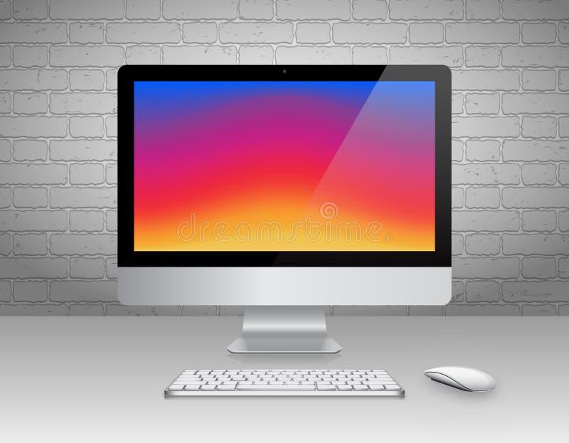 Realistischer Computer-Monitor, Tastatur und Maus mit buntem Schirm auf Backsteinmauer-Hintergrund Auch im corel abgehobenen Betr lizenzfreies stockfoto