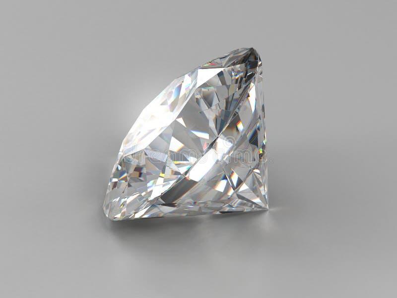 Realistischer Diamant gesetzt auf grauen Hintergrund mit heller Reflexion, Illustration 3d stock abbildung