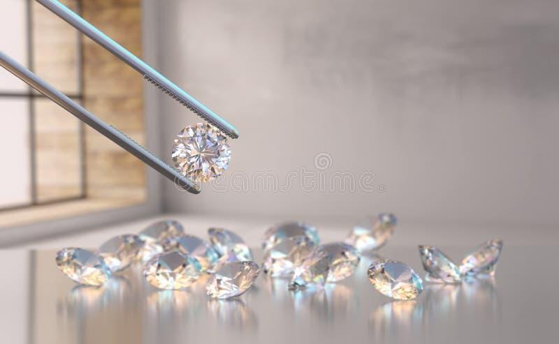 Realistischer Diamant in Pinzetten stock abbildung