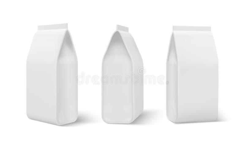 Realistischer Doy-Satz Nahrungsmitteltaschenmodell, verpackender Hundemahlzeitfreier raum, Kaffeeimbissbeutel Leere Schablone des lizenzfreie abbildung