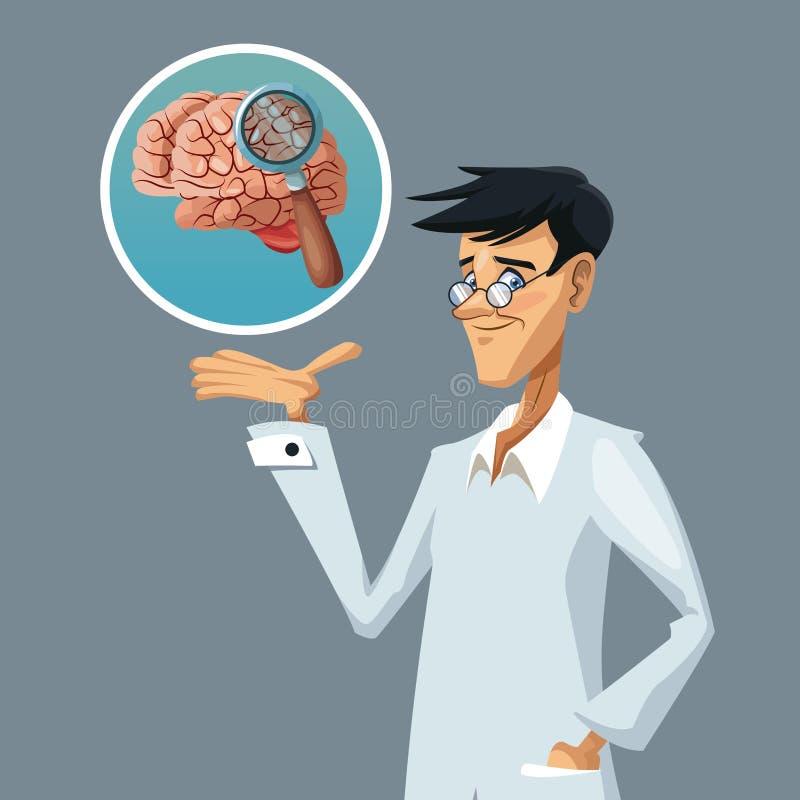 Realistischer Farbplakat-Nahaufnahmewissenschaftler mit Forschung zum Gehirn lizenzfreie abbildung