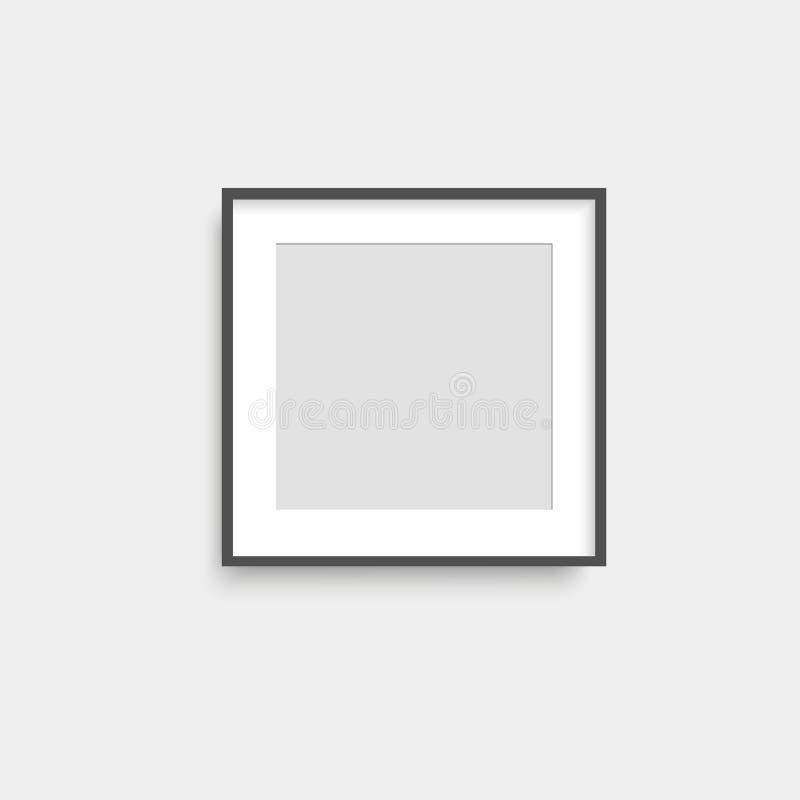 Realistischer Fotorahmen des schwarzen Quadrats auf grauer Wand Vektor vektor abbildung