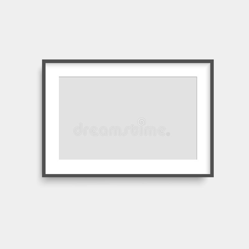 Realistischer Fotorahmen des schwarzen Quadrats auf grauer Wand Vektor lizenzfreie abbildung