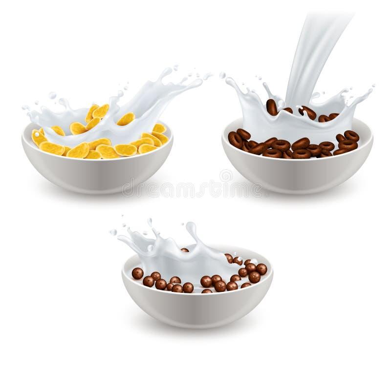 Realistischer Frühstückskost- aus Getreidemilch-Satz lizenzfreie abbildung
