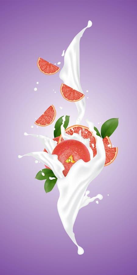 Realistischer Frucht- und Milchfluß der Illustration 3d Scheiben fallendes i vektor abbildung