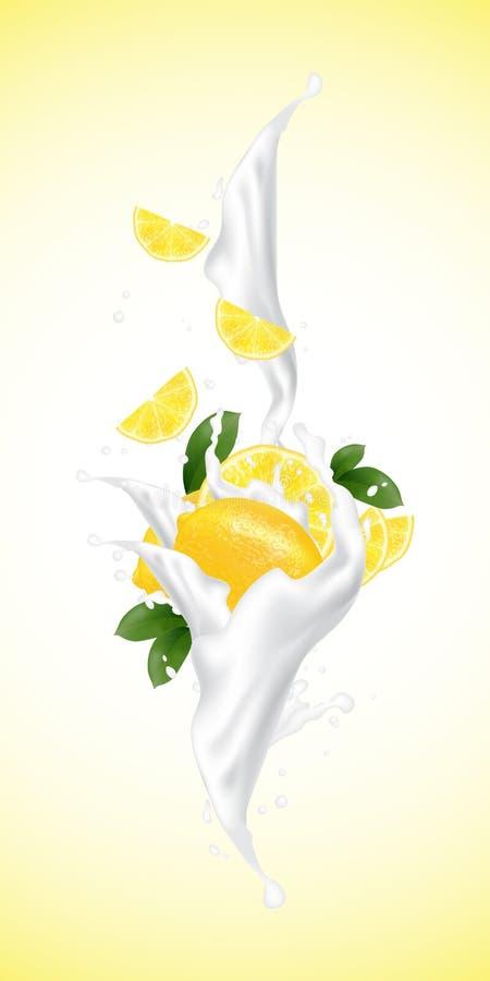 Realistischer Frucht- und Milchfluß der Illustration 3d Scheibenfallen vektor abbildung