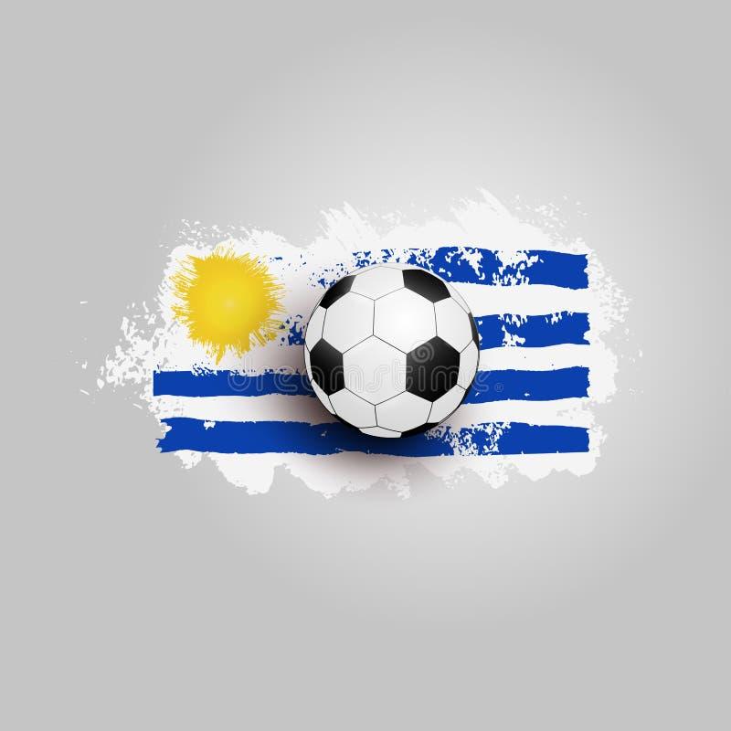 Realistischer Fußball auf der Flagge von Uruguay, gemacht von den Bürstenanschlägen Vektorbild, Abbildung Auch im corel abgehoben lizenzfreie abbildung