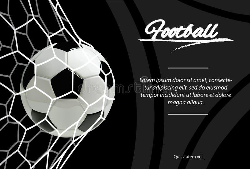 Realistischer Fußball im Netz auf schwarzem Hintergrund Klassischer Fußballball lizenzfreie abbildung