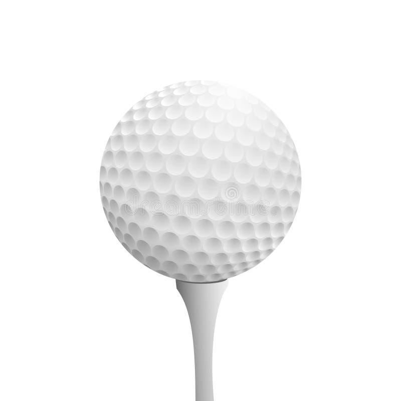 Realistischer Golfball auf T-Stück stock abbildung