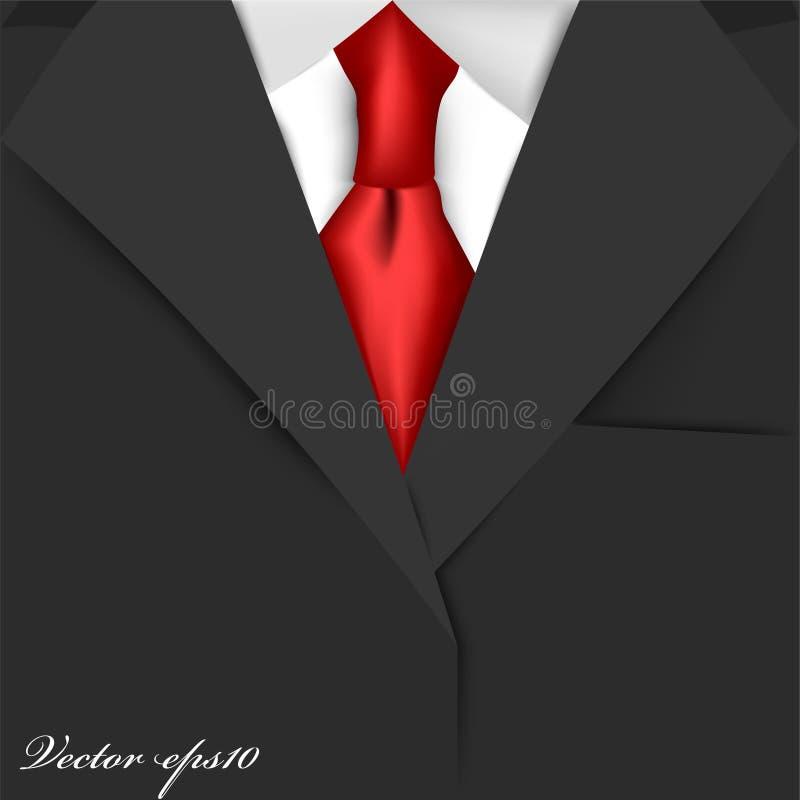 Realistischer Grafikdesignvektor des schwarzen Anzugs mit rotem Krawattenweißhemd stock abbildung