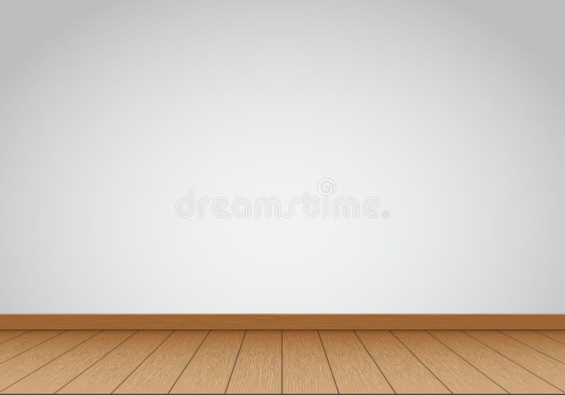 Realistischer grauer Wandfreier raum mit Innenhintergrundvektor des braunen Holzfußbodens lizenzfreie abbildung
