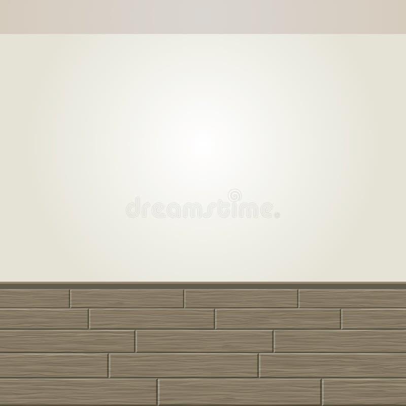 Realistischer Holzfußboden und weiße Wand stock abbildung