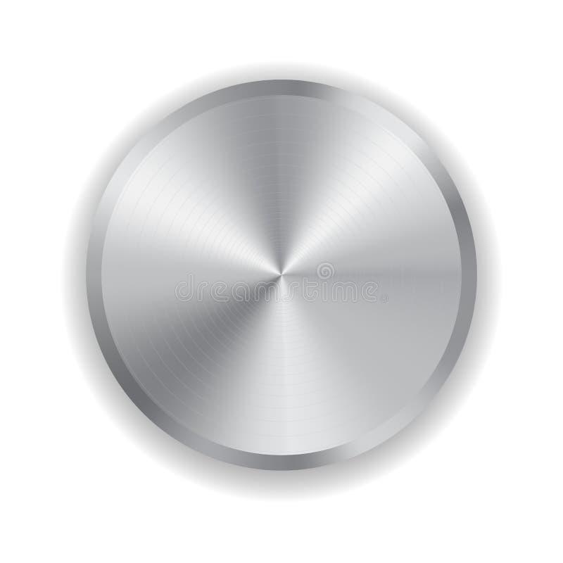 Realistischer Knopf des Vektors Metall vektor abbildung